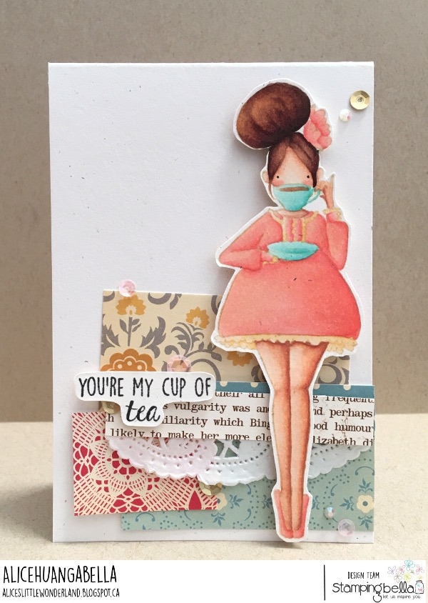 www.stampingbella.com: rubber stamp used: CURVY GIRL LOVES TEA. card by ALICE HUANG