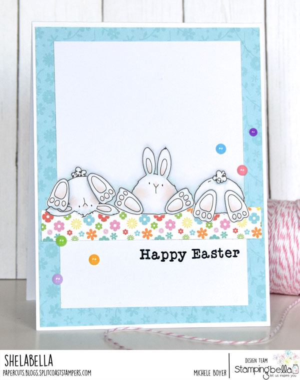 www.stampingbella.com: rubber stamp used: ROW OF BUNNY WOBBLES and CUT IT OUT DIE. Card by Michele Boyer