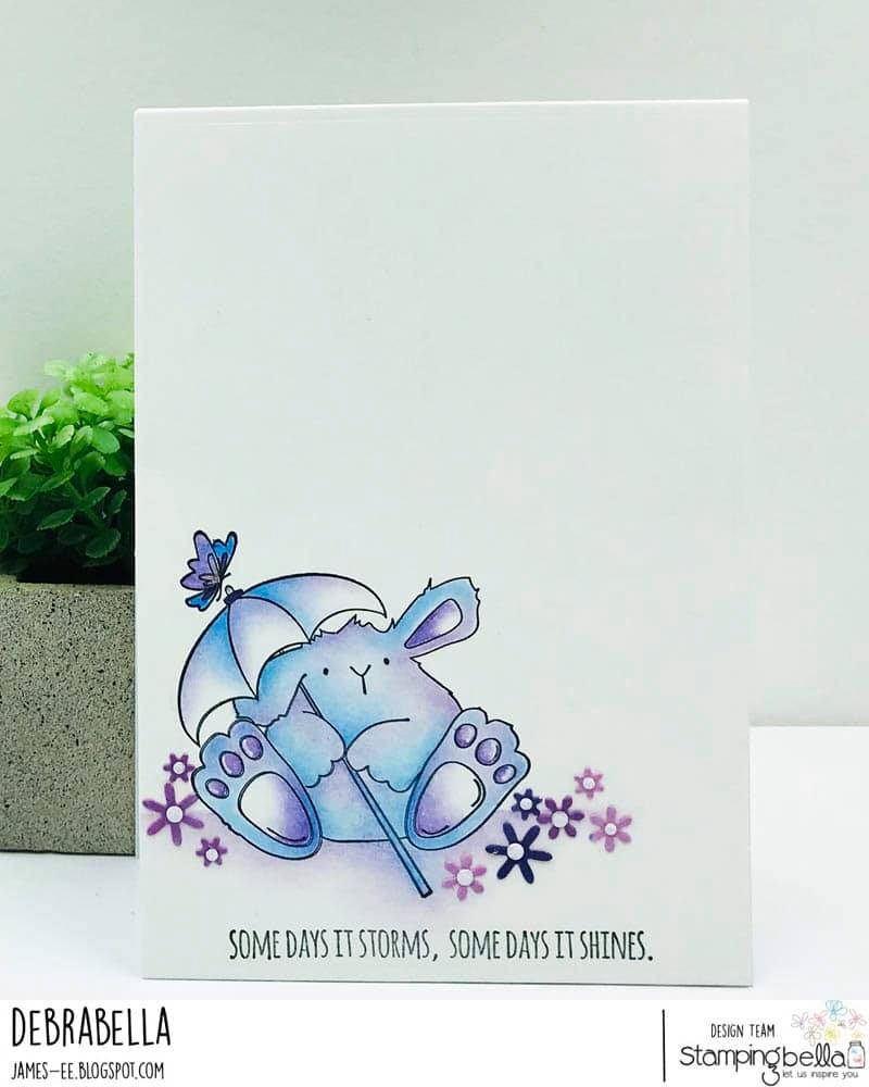 www.stampingbella.com: rubber stamp used: SHOWER BUNNY WOBBLE. Card by Debra James