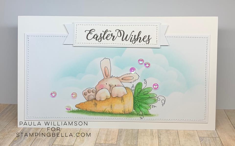 www.stampingbella.com: rubber stamp used: SOMEBUNNNY LOVES YOU. Card by Paula Williamson