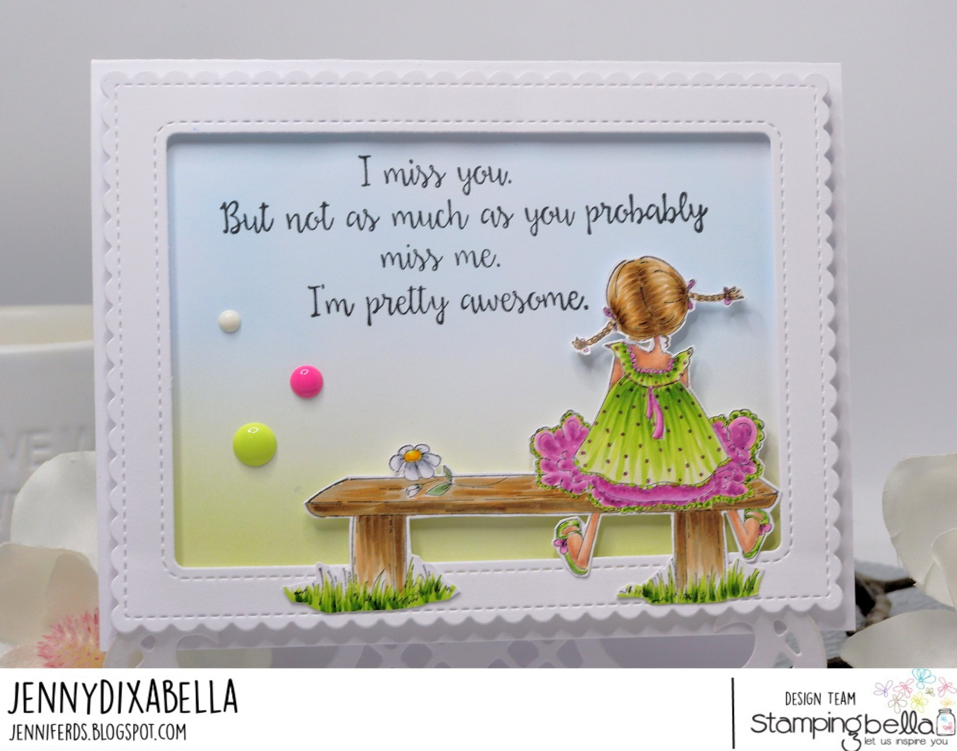 www.stampingbella.com: rubber stamp used: TINY TOWNIE AMANDA IS AWESOME. Card by Jenny Dix