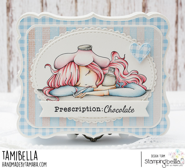 www.stampingbella.com:  rubber stamp used UNDER THE WEATHER MOCHI GIRL. Car by Tamara Potozcnik
