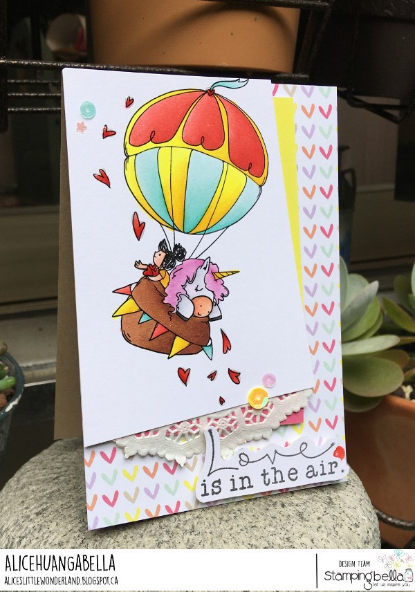 www.stampingbella.com: rubber stamp used: UP UP AND AWAY ROSIE AND BERNIE. Card by Alice Huang