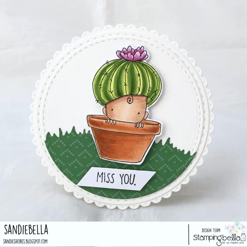 www.stampingbella.com: rubber stamp used: Cactus Baby. card by Sandie Dunne