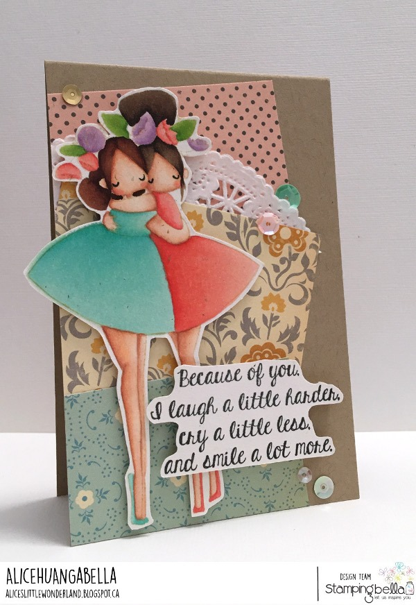 www.stampingbella.com: rubber stamp used:CURVY GIRL BESTIES. card by Alice Huang