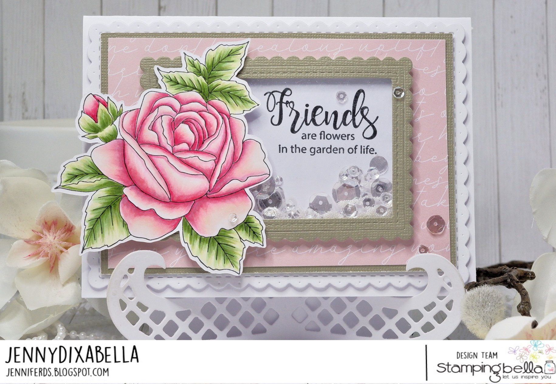 www.stampingbella.com: rubber stamp used:  BUNDLE GIRL WITH A GARDENIA card by Jenny Dix