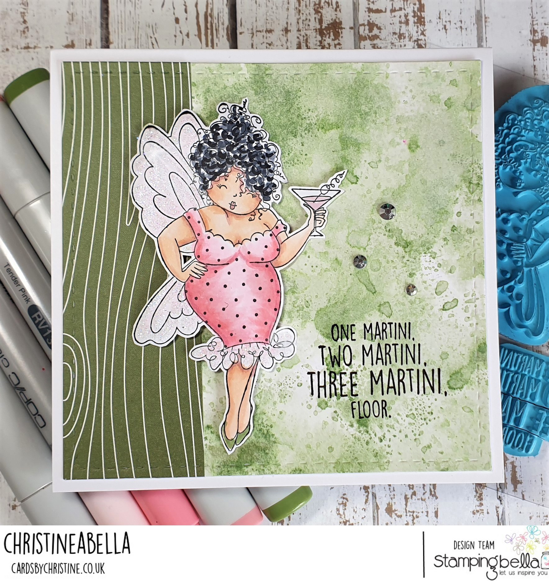www.stampingbella.com: rubber stamp used: EDNA NEEDS A MARTINI card by CHRISTINE LEVISON