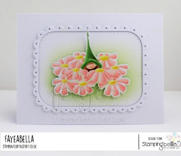 www.stampingbella.com: rubber stamp used:  GNOME BOUQUET card by FAYE WYNN JONES