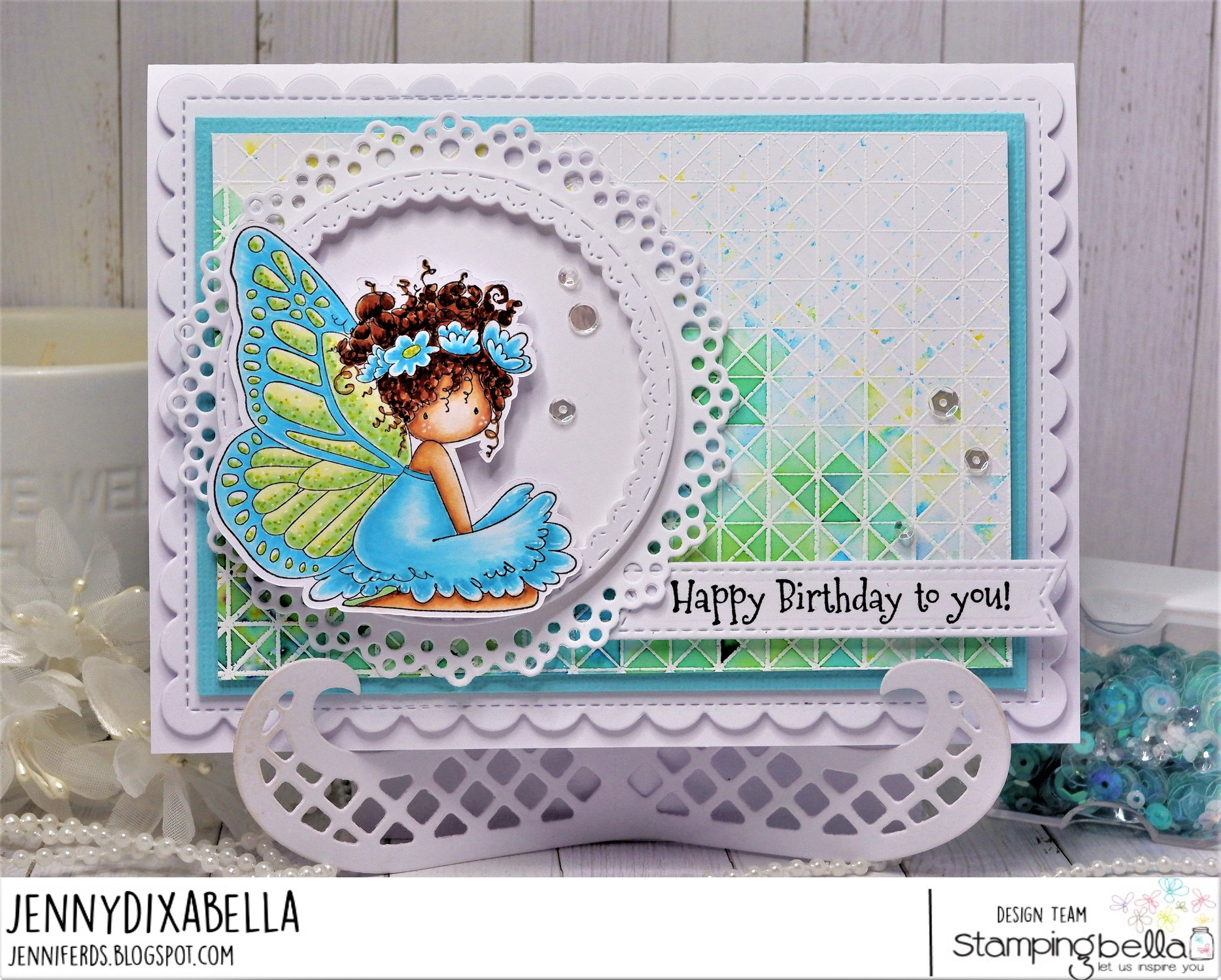 www.stampingbella.com: rubber stamp used: TINY TOWNIE BUTTERFLY GIRL BESS. card by Jenny Dix
