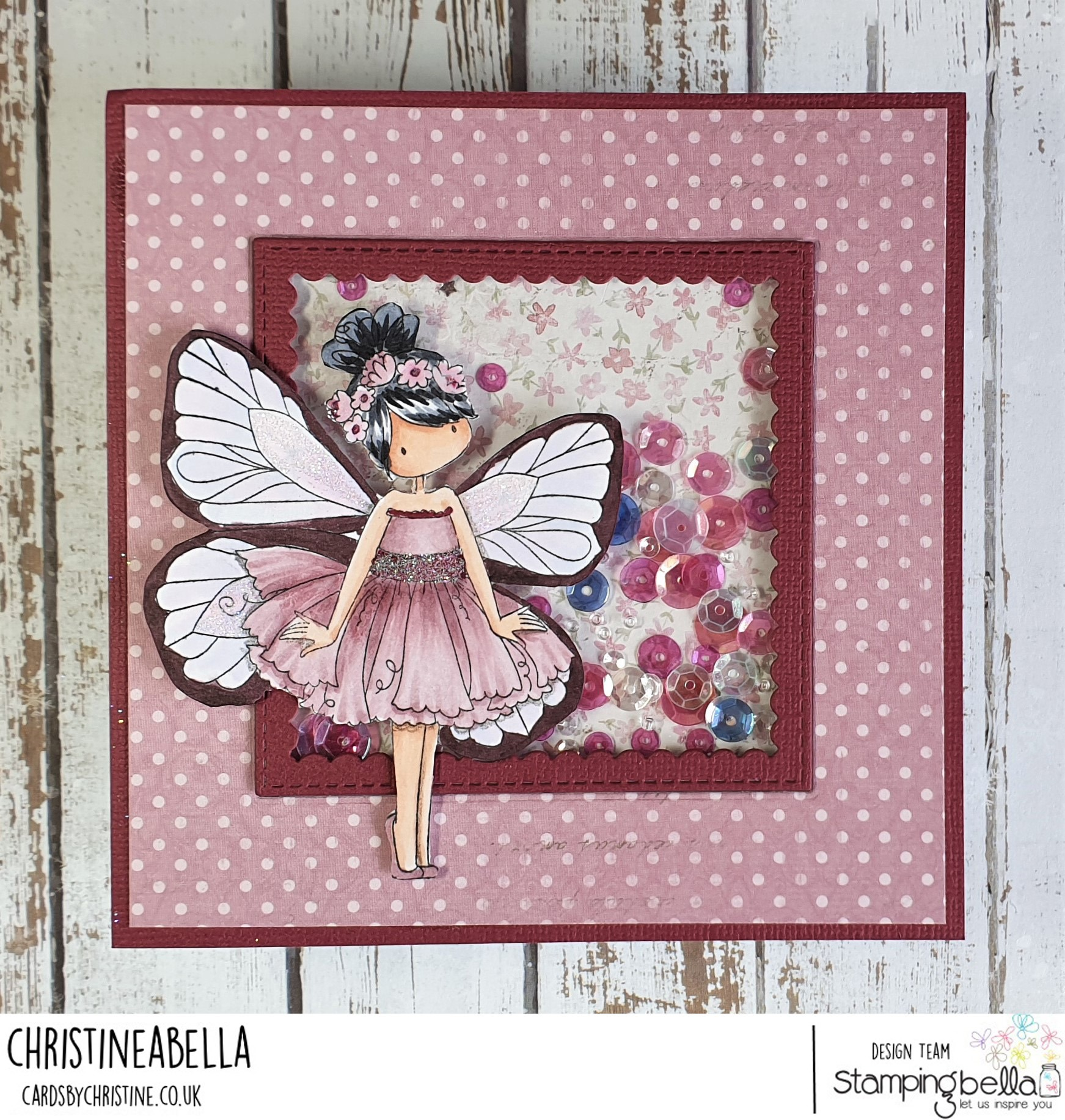 www.stampingbella.com: rubber stamp used: TINY TOWNIE BUTTERFLY GIRL BLANCHE. card by Christine Levison