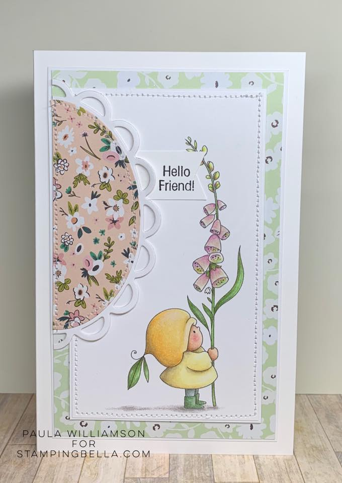 www.stampingbella.com: rubber stamp used: BUNDLE GIRL WITH A FOXGLOVE. Card by Paula Williamson