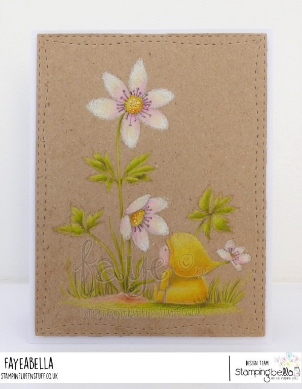 www.stampingbella.com: rubber stamp used: BUNDLE GIRL WITH A WOOD ANEMONE. Card by Faye Wynn Jones
