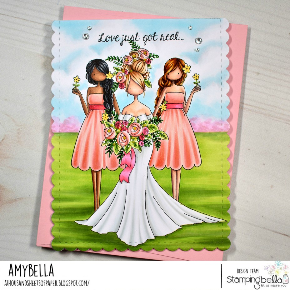 www.stampingbella.com: rubber stamps used: CURVY GIRL BRIDE.. UPTOWN ZODIAC GIRLS GEMINI card by AMY YOUNG