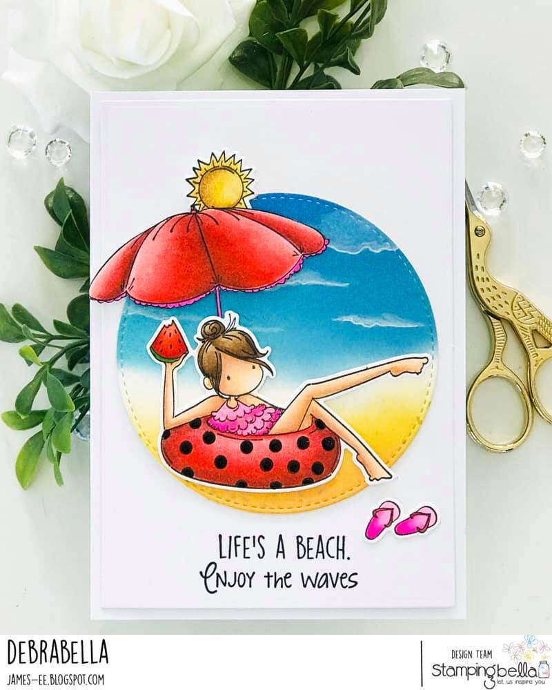 www.stampingbella.com: rubber stamp used: FRANCES LOVES TO FLOAT. card by Debra JAmes