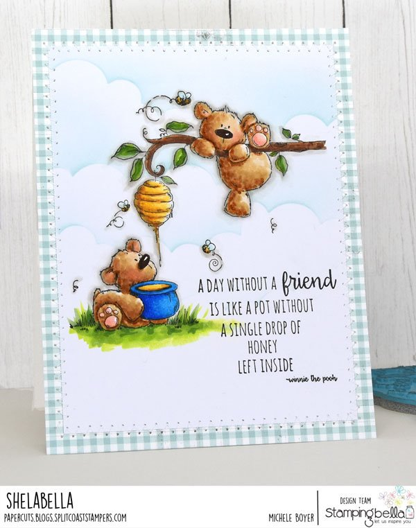 www.stampingbella.com: rubber stamp used: HONEYBEAR STUFFIES. card by MICHELE BOYER