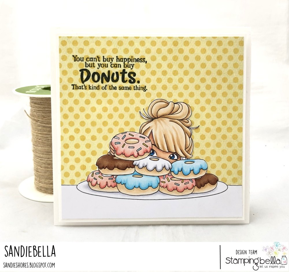 www.stampingbella.com: rubber stamp used: MOCHI DONUT GIRL. Card by Sandie Dunne
