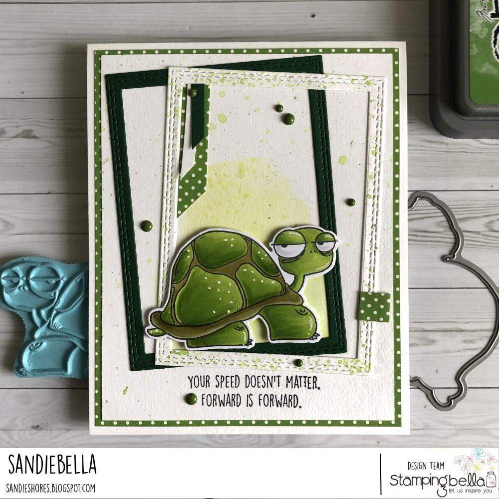 www.stampingbella.com: rubber stamp used: ODDBALL TURTLE card by Faye Wynn Jones