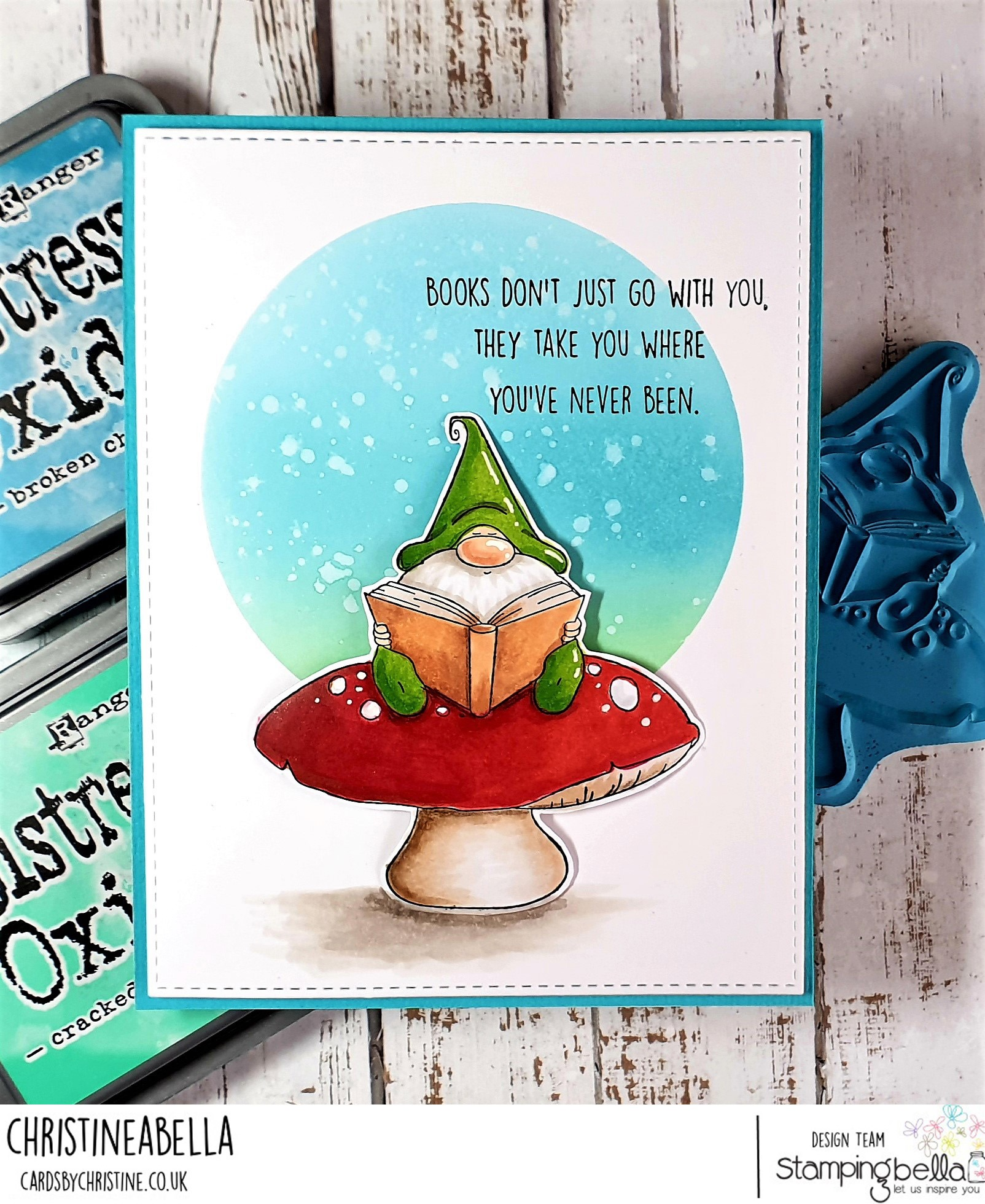 www.stampingbella.com: rubber stamp used: Reading Gnome. Card by Christine Levison
