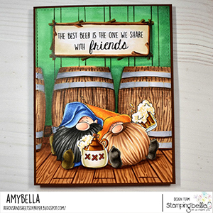 www.stampingbella.com: rubber stamp used: BEER GNOMES card by Amy Young