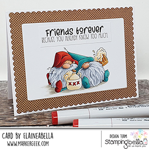 www.stampingbella.com: rubber stamp used: BEER GNOMES card by Elaine Hughes