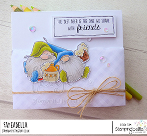 www.stampingbella.com: rubber stamp used: BEER GNOMES card by Faye Wynn Jones