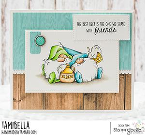 www.stampingbella.com: rubber stamp used: BEER GNOMES card by Tamara Potocnik