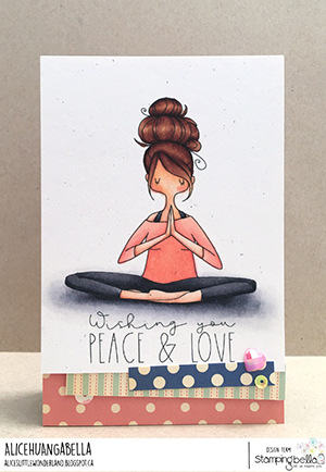 www.stampingbella.com: rubber stamp used: CURVY GIRL NAMASTE. CArd by Alice Huang