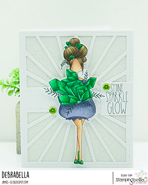 www.stampingbella.com: rubber stamp used: CURVY GILR COLLECTS CRYSTALS card by Christine LEvison