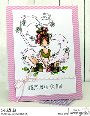 www.stampingbella.com: rubber stamp used: CURVY GIRL loves essential oils. Card by Michele Boyer
