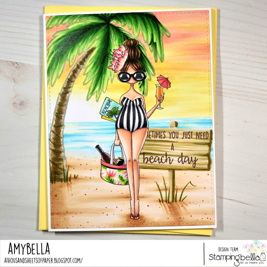 www.stampingbella.com: Rubber stamp used: CURVY GIRL LOVES THE BEACH. card by Amy Young