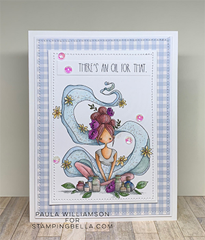 www.stampingbella.com: rubber stamp used: CURVY GIRL loves essential oils. Card by Paula Williamson