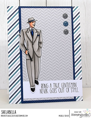 www.stampingbella.com: rubber stamp used: EDGAR AND MOLLY VINTAGE MARTINI MEN SET card by Michele Boyer