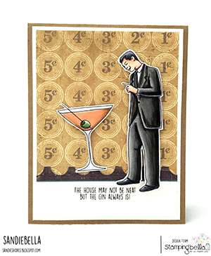 www.stampingbella.com: rubber stamp used: EDGAR AND MOLLY VINTAGE MARTINI MEN SET card by Sandie Dunne