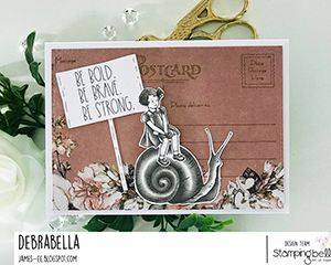 www.stampingbella.com: rubber stamp used: EDGAR AND MOLLY VINTAGE SNAIL SET card by Debra James