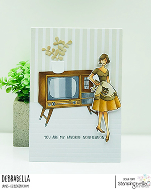 www.stampingbella.com: rubber stamp used: EDGAR AND MOLLY VINTAGE TV SET card by Debra James
