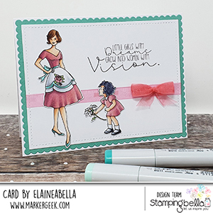 www.stampingbella.com: rubber stamp used: EDGAR AND MOLLY VINTAGE TV SET card by Elaine Hughes