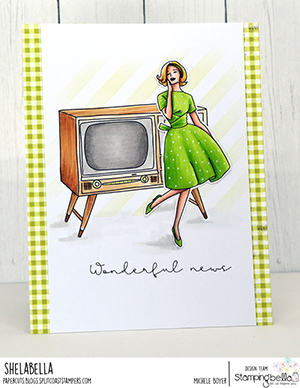 www.stampingbella.com: rubber stamp used: EDGAR AND MOLLY VINTAGE TV SET card by Michele Boyer
