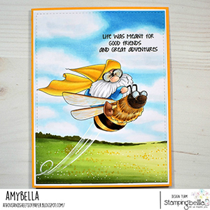 www.stampingbella.com: rubber stamp used: FLYING GNOME. Card by Amy Young