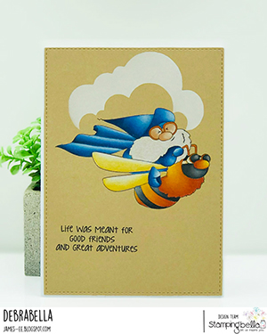 www.stampingbella.com: rubber stamp used: FLYING GNOME. Card by Debra James