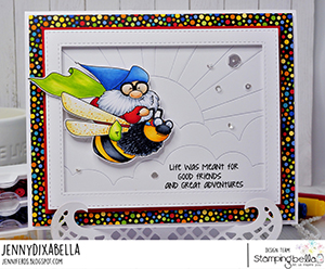 www.stampingbella.com: rubber stamp used: FLYING GNOME. Card by Jenny Dix