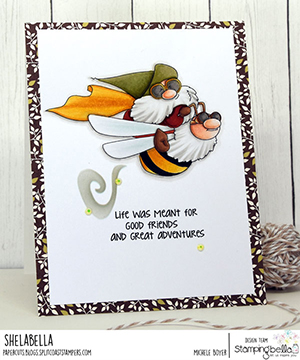 www.stampingbella.com: rubber stamp used: FLYING GNOME. Card by Michele Boyer