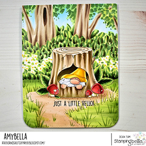 www.stampingbella.com: rubber stamp used: GNOME IN. A TREE card by Amy Young