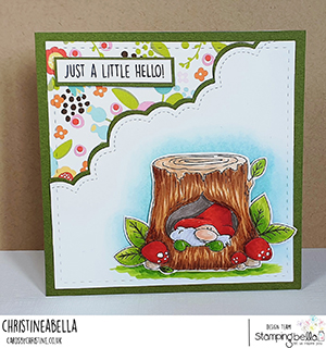 www.stampingbella.com: rubber stamp used: GNOME IN. A TREE card by Christine Levison