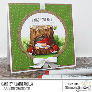 www.stampingbella.com: rubber stamp used: GNOME IN. A TREE card by Elaine Hughes