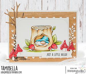 www.stampingbella.com: rubber stamp used: GNOME IN. A TREE card by Tamara Potocnik