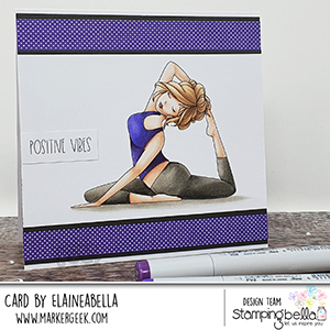 www.stampingbella.com: rubber stamp used: MOCHI YOGA GIRL. Card by Elaine Hughes