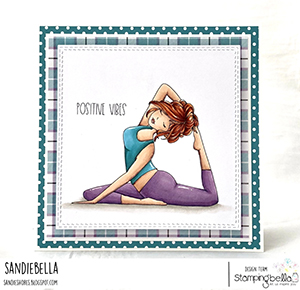 www.stampingbella.com: rubber stamp used: MOCHI YOGA GIRL. Card by Sandie Dunne