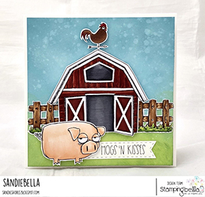 www.stampingbella.com: rubber stamp used: ODDBALL BARN HAY and FENCE set and card by SANDIE DUNNE