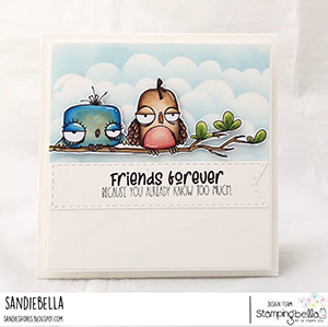 www.stampingbella.com: rubber stamp used: ODDBALL BIRD SET. card by Sandie Dunne