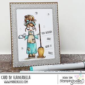 www.stampingbella.com: rubber stamp used: ODDBALL Cinderella . card by ELaine Hughes